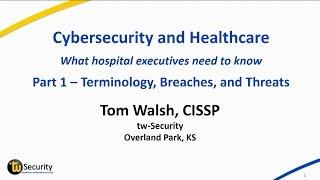 Cybersecurity and Healthcare – Terminologies, Breaches, and Threats